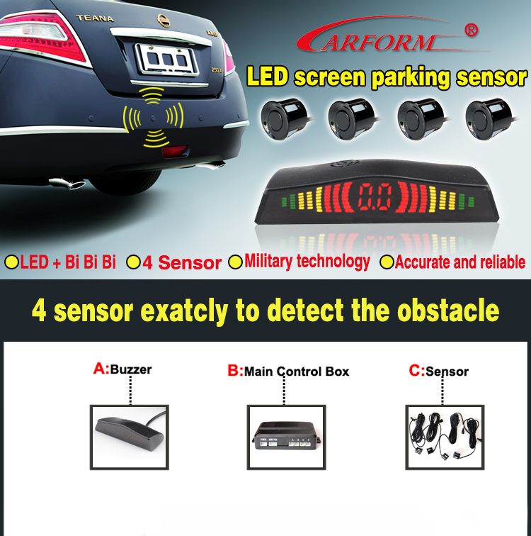 Universal car parking sensor with side waterproof backup sensor