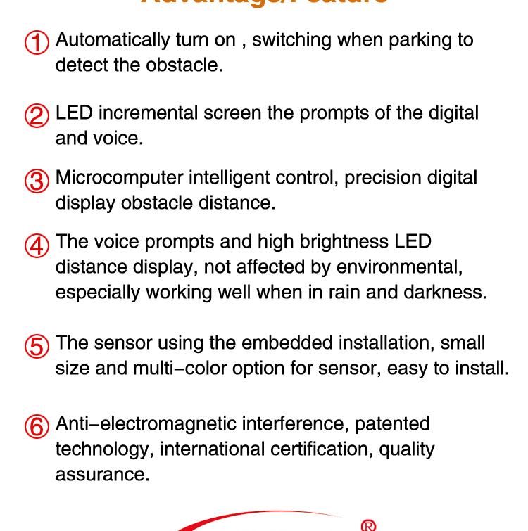 Special half moon led disply waterproof auto beeper parking sensor for cars