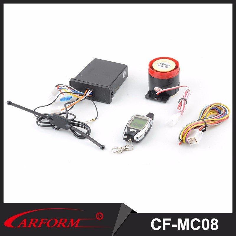 Sistema de alarma de la motocicleta de dos vías con comienzo alejado del motor y mando a distancia LCD CF-MC08