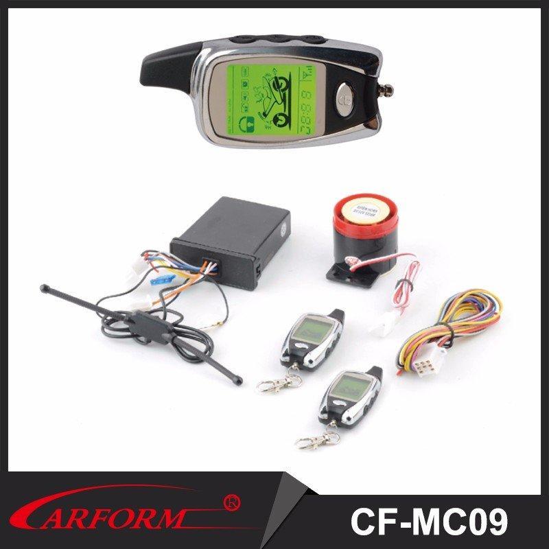 Sistema de alarma de dos vías de motocicleta con LCD remoto y alejado del motor arranque CF-MC09