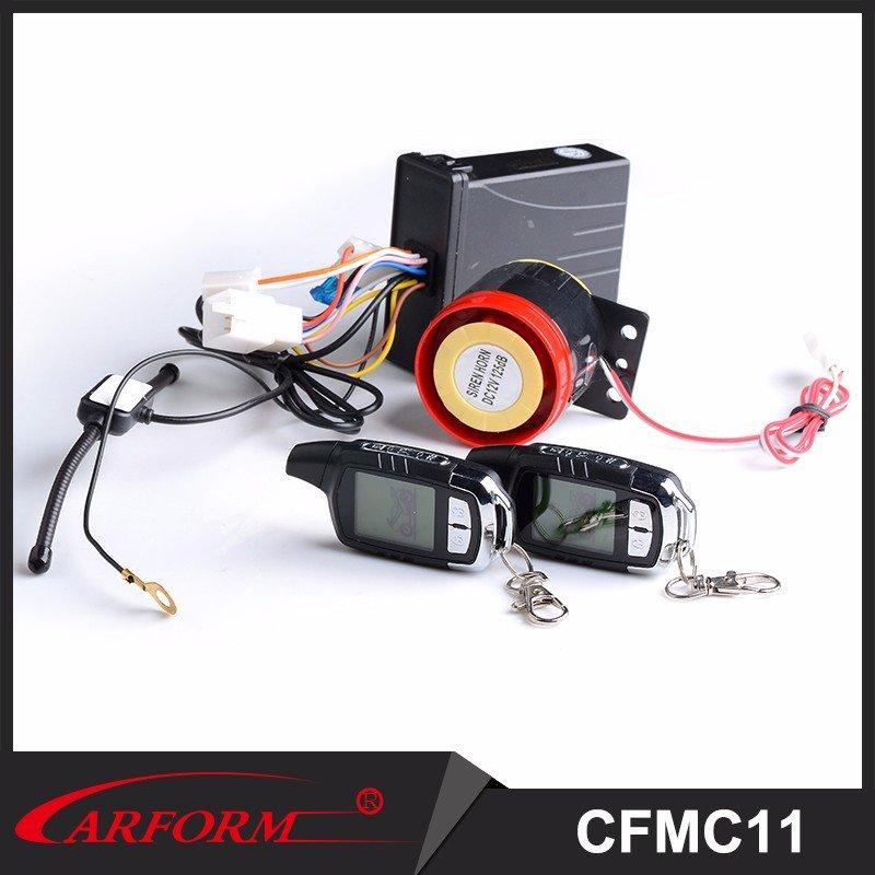 Nueva llegada forma rentable de dos motocicleta sistema de alarma con 2 LCD controles remoto MC11