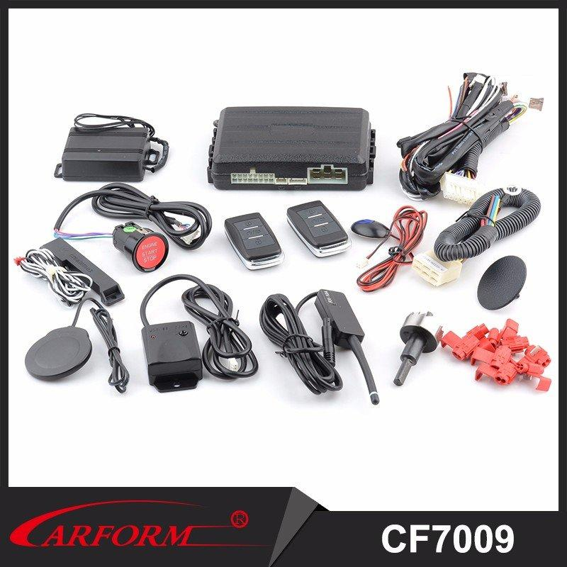 One Way Car Alarm PKE Engine Start Stop System With Remote Engine Starter and Push Start Button CF7009