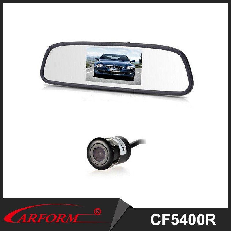 4.3 inche rearview mirror with camera, rear view parking sensor system for 12V car
