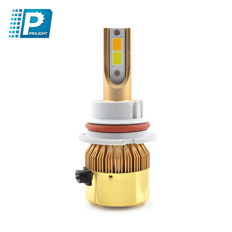 Newest high brightness car LED headlight COB chip C6D with 2 colors light bulbs