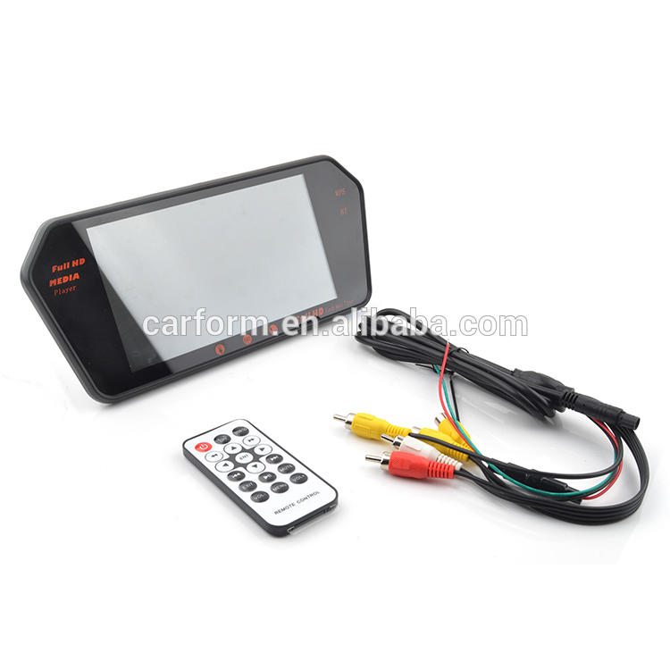 7 inch Rear view LED Monitor with MP5,Bluetooth and Mobile phone interconnected charge plus capacitive touch display