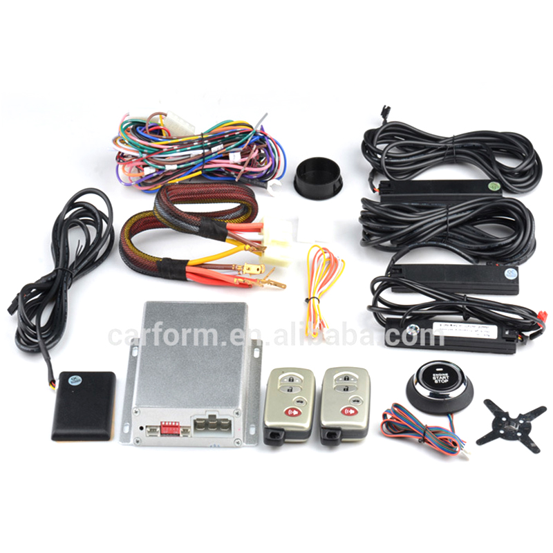 PKE Car Alarm System with Remote Engine Starter and Push Start Stop Button CF7003
